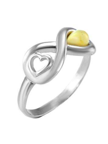 Sterling Silver Ring With White The Amour, Ring Size: 6 / 16.5, image