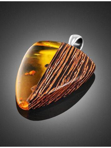 Wenge Wood Pendant With Lemon Amber The Indonesia, image , picture 2