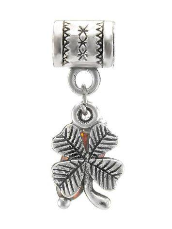 Four Leaf Clover Charm With Cherry Amber In Sterling Silver The Shamrock, image , picture 4