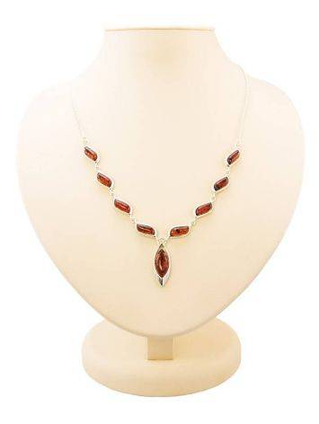 Wonderful Silver Necklace With Cognac Amber The Taurus, image