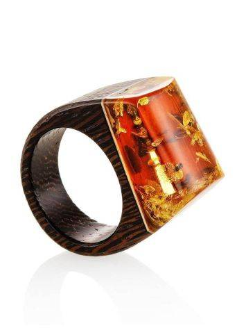 Wooden Ring With Lemon Amber The Indonesia, Ring Size: 7 / 17.5, image , picture 3