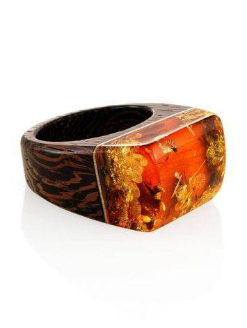 Wooden Ring With Lemon Amber The Indonesia, Ring Size: 7 / 17.5, image , picture 4