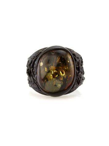 Dark Leather Open Ring With Lemon Amber The Nefertiti, Ring Size: Adjustable, image , picture 2