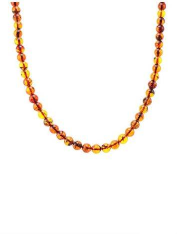 Cognac Amber Ball Beaded Necklace, image , picture 4