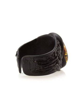 Dark Leather Open Ring With Lemon Amber The Nefertiti, Ring Size: Adjustable, image , picture 4