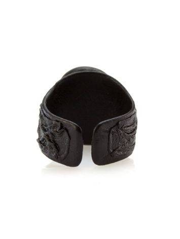 Dark Leather Open Ring With Lemon Amber The Nefertiti, Ring Size: Adjustable, image , picture 5