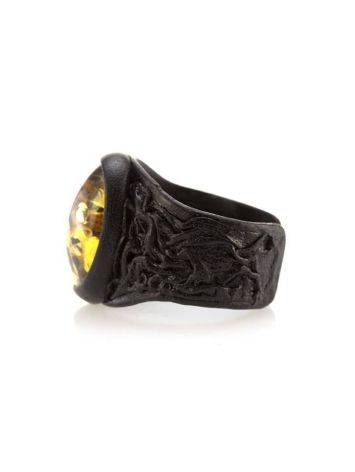 Dark Leather Open Ring With Lemon Amber The Nefertiti, Ring Size: Adjustable, image , picture 6