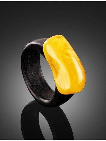 Hornbeam Wood Ring With Honey Amber The Indonesia, Ring Size: 9.5 / 19.5, image , picture 2