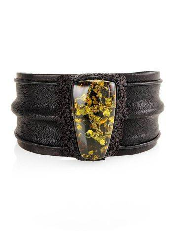 Leather Cuff Bracelet With Green Amber The Nefertiti, image , picture 3