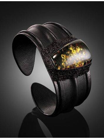 Leather Cuff Bracelet With Green Amber The Nefertiti, image , picture 2