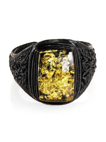 Leather Open Ring With Green Amber The Nefertiti, Ring Size: Adjustable, image , picture 3