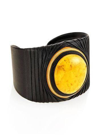 Dark Leather Cuff Bracelet With White Amber The Nefertiti, image , picture 4