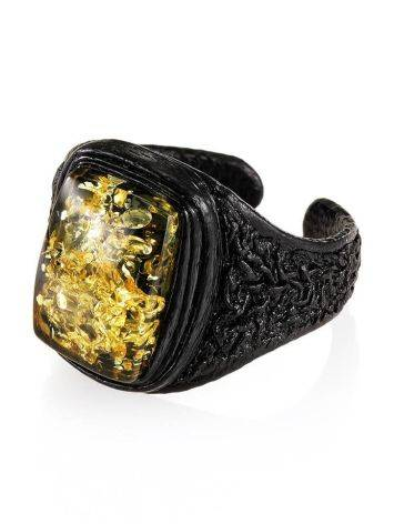 Leather Open Ring With Green Amber The Nefertiti, Ring Size: Adjustable, image , picture 4
