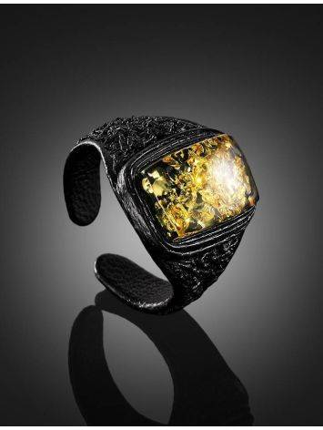 Leather Open Ring With Green Amber The Nefertiti, Ring Size: Adjustable, image , picture 2