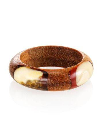 Wooden Ring With Honey Amber The Indonesia, Ring Size: 8 / 18, image , picture 4