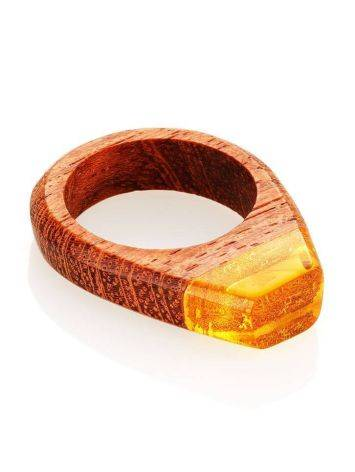 Redwood Ring With Lemon Amber The Indonesia, Ring Size: 9 / 19, image , picture 3
