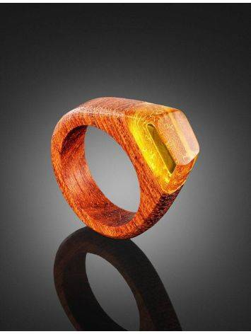 Redwood Ring With Lemon Amber The Indonesia, Ring Size: 9 / 19, image , picture 2