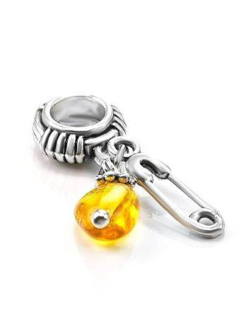 Sterling Silver Charm With Lemon Amber The Pin, image , picture 2