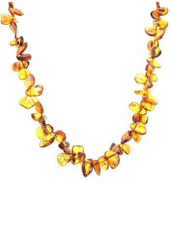 Cognac Amber Beaded Necklace, image , picture 4