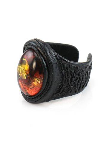 Dark Leather Open Ring With Cherry Amber The Nefertiti, Ring Size: Adjustable, image , picture 3