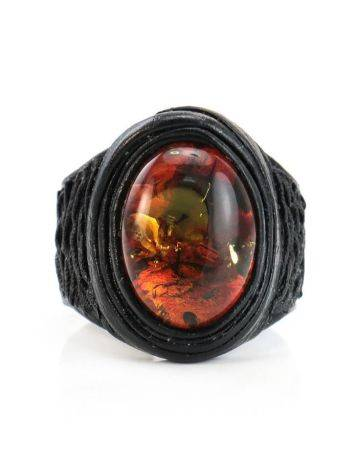 Dark Leather Open Ring With Cherry Amber The Nefertiti, Ring Size: Adjustable, image , picture 2