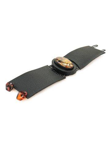 Black Leather Bracelet With Green Amber The Amazon, image , picture 6
