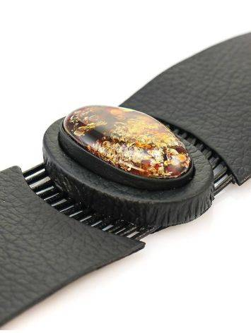 Black Leather Bracelet With Green Amber The Amazon, image , picture 3