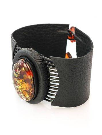 Black Leather Bracelet With Green Amber The Amazon, image , picture 4