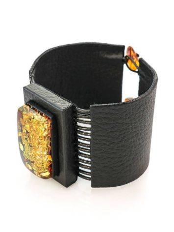 Dark Leather Bracelet With Green Amber The Amazon, image , picture 3