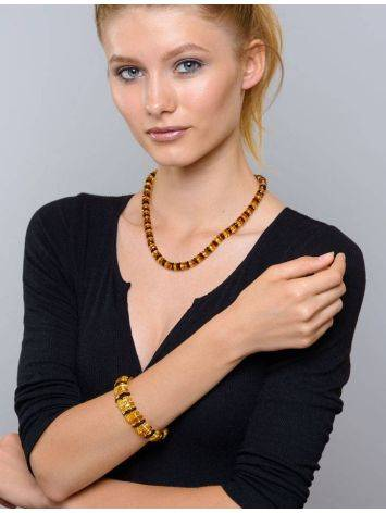 Faceted Multicolor Amber Designer Bracelet The Tangerine, image , picture 4