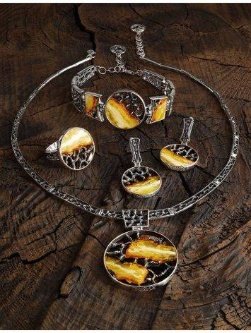 Honey Amber Necklace In Sterling Silver The Lava, image , picture 5
