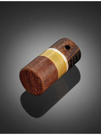Honey Amber And Mahogany Wood Bar Pendant With Nacre The Indonesia, image , picture 2
