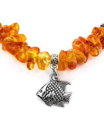 Cognac Amber Designer Bracelet With Charms, image , picture 4