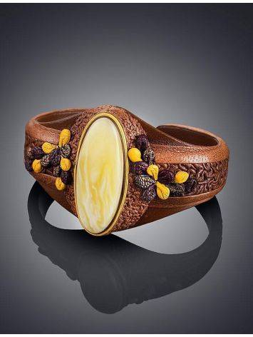 Brown Leather Bracelet With White Amber The Nefertiti, image , picture 2