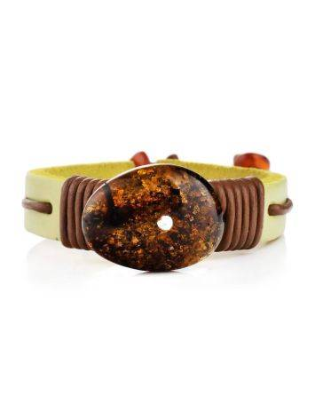 Yellow Leather Tie Bracelet With Green Amber The Copacabana, image , picture 3