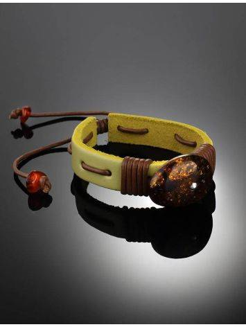 Yellow Leather Tie Bracelet With Green Amber The Copacabana, image , picture 2