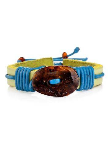 Yellow Leather Tie Bracelet With Cognac Amber The Copacabana, image , picture 3