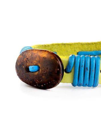 Yellow Leather Tie Bracelet With Cognac Amber The Copacabana, image , picture 4