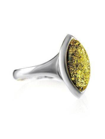 Lovely Silver Ring With Leaf Cut Amber The Amaranth, Ring Size: 8 / 18, image