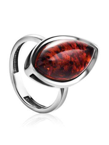 Glossy Sterling Silver Ring With Bright Cognac Amber The Amaranth, Ring Size: 6.5 / 17, image