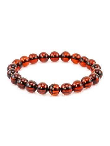 Dark Cherry Amber Medium Size Beaded Bracelet, image