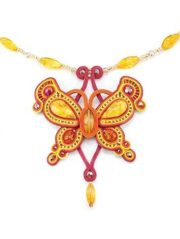 Braided Textile Necklace With Amber And Glass Beads The India, image , picture 2