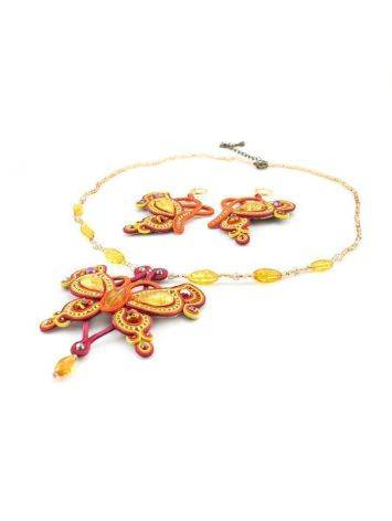 Braided Textile Necklace With Amber And Glass Beads The India, image , picture 4