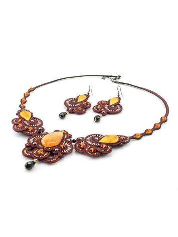 Glass Beads Braided Necklace With Amber And Crystals The India, image , picture 6