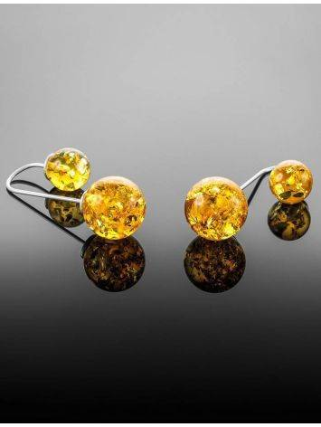 Asymmetric Silver Threader Earrings With Lemon Amber The Paris, image , picture 5