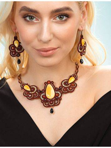 Glass Beads Braided Necklace With Amber And Crystals The India, image , picture 4