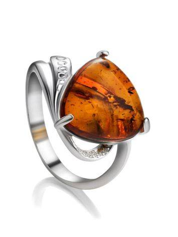 Sterling Silver Ring With Cognac Amber The Acapulco, Ring Size: 5.5 / 16, image