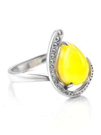 Silver Amber Ring The Acapulco, Ring Size: 5.5 / 16, image