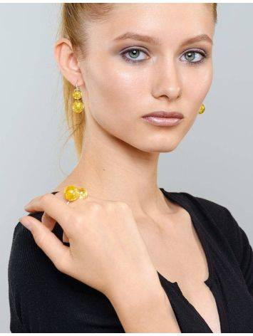 Asymmetric Silver Threader Earrings With Lemon Amber The Paris, image , picture 2