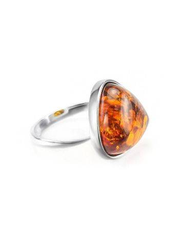 Triangle Silver Ring With Cognac Amber The Astoria, Ring Size: 6 / 16.5, image